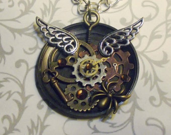 Winged Clockwork Spider Necklace