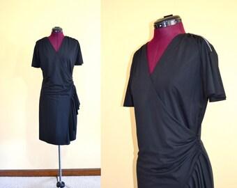 1980s Vintage Rimini Black Wrap Cocktail Dress with Rhinestone Detail size 8 (M L) bust 36