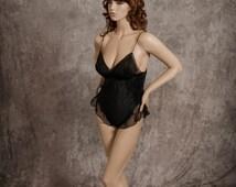 Vintage Intime' of California Teddy Lingerie Bodysuit Gorgeous Micro Pleats and Chiffon Elegant Size Medium