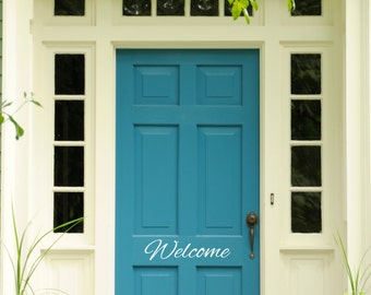 Welcome Door Sign - Wall Decal Custom Vinyl Art Stickers