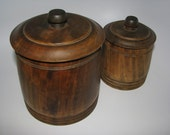 Pair of Vintage Wooden Canisters Lined with Tin Inserts.