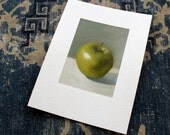 oil sketch Green Apple on gessoed paper, still life oil painting