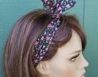 BLACK FLORAL HEADBAND dolly bow wire headband hair scarf head wrap wire hair tie hat band ditsy floral revival cotton fabric