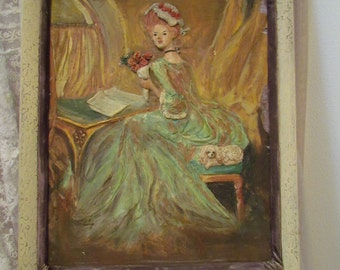 Shabby Chippy Marie Antoinette Painting Bas Relief
