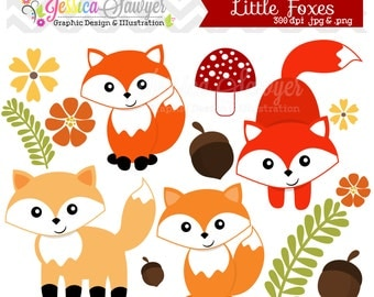 INSTANT DOWNLOAD, little fox clipart, woodland clip art, for personal use, commercial use, party supply, scrapbooking