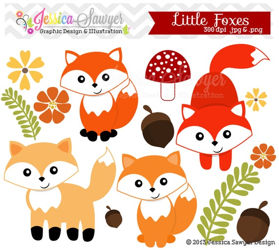 instant download kleiner fuchs clipart wald clipart f r. Black Bedroom Furniture Sets. Home Design Ideas