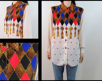Vintage 80's Blouse Medium 80's Argyle Blouse Shirt Dress Silk Blouse Sexy Blouse Oversized Blouse Gold Tassel Diamond F1