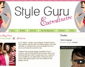 Pink and Green Premade Blogger Template Theme w/Custom Logo Header Design - Style Blog - Live Demo!