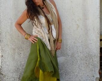 Elfnfelt skirt ~ Fairytale woodland green ~ Felt edged wrap skirt petticoat