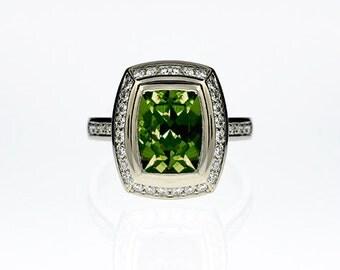 2.80ct Cushion cut Peridot ring, Diamond halo, engagement ring, green, peridot engagement, diamond ring, halo, pave, bezel, unique, wedding