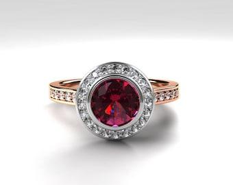 Pink tourmaline halo engagement ring,  rose gold, white gold, diamond halo, bezel engagement ring, pink wedding, tourmaline halo, two tone