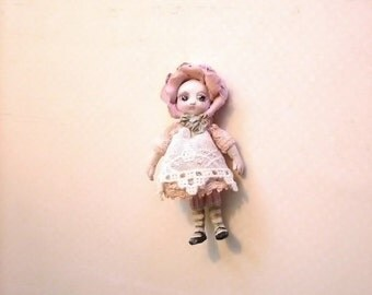 "Tiny 1.5"" Victorian Rose bonnet doll - hand-sculpted - lace, antique glass eyes - Jill Dianne Dollhouse Miniature"