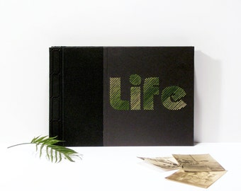 LIFE. Minimal Photo Album. Hand Embroidered A4 Black Photo Album. Japanese Stab Bound Photo Album. Minimal Black and Green Photo Album