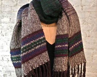 "70s Oversized Wool ""Hobo"" Scarf - Huge, Warm and Stylish - Hand Loomed"