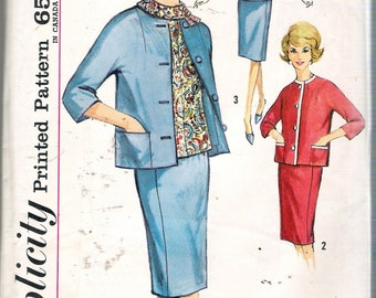 Vintage 1960's Simplicity 4642 Maternity Skirt Blouse & Jacket Sewing Pattern Size 14