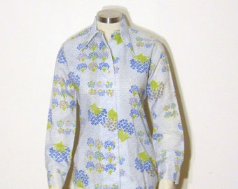vintage LANVIN blouse shirt top / high fashion couture abstract print button up blouse shirt