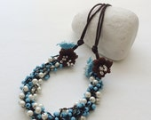 Multistrand Necklace, Statement Necklace, Boho Crochet Collar, Beaded Pearl Necklace, Bridal Bib Necklace, Wedding Jewelry, Turquoise Collar