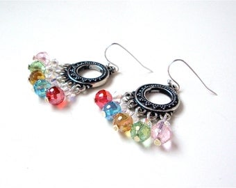 Rainbow colored glass bead chandelier earrings - colorful bead earrings - silver and multicolor beaded earrings by Sparkle City Jewelry