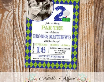 Argyle Golf Birthday Party invitation - golf par-tee - with photo - choose your wording and colors