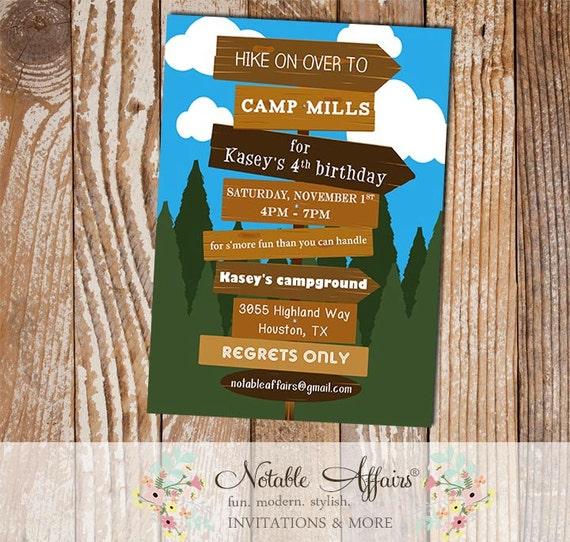 Hiking camping campfire bonfire birthday invitation smores s il570xn filmwisefo