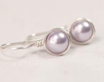 Lavender Pearl Earrings Wire Wrapped Jewelry Handmade Sterling Silver Jewelry Handmade Lavender Earrings Pearl Drop Earrings Swarovski Pearl