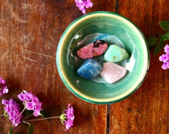 Heart Healing Gemstone Set- Chrysoprase, Rhodonite, Rose Quartz, Chrysocolla for Heartache, Breakups, Healing Crystals Altar Pocket Stones