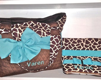 Personalized Diaper Bag In Brown/Cream Giraffe Print With Turquoise Accents. Bag Only Or Add On The Changing Pad