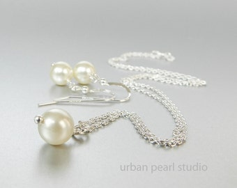 Bridesmaids Gifts Jewelry Sets Under 25 Dollars Swarovski Pearl Necklace Pearl Drop Earrings Gift Boxed in Wedding Colors