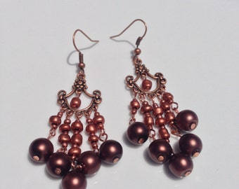 Copper Bead Chandelier Earrings