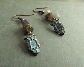 Owl Jewelry Bird Earrings Labradorite Stone Chips Rustic Patina Copper Jewellery