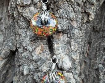 Orange, Green, and Black Glass Earrings w/ Sterling Silver Earwires