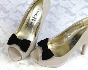 Black Velvet Shoe Clip, Black Velvet Bow Shoe Clips, Retro Pin Up Girl Clip Shoes