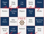 Nautical Baby Shower Game, Nautical Baby Shower Bingo, Nautical Theme Baby Bingo, Printable Nautical Baby Shower Theme, Instant Download