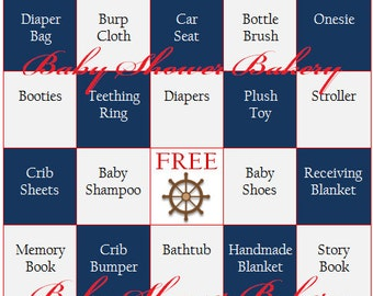 Nautical Baby Shower Game, Nautical Baby Shower Bingo, Nautical Theme Baby  Bingo, Printable