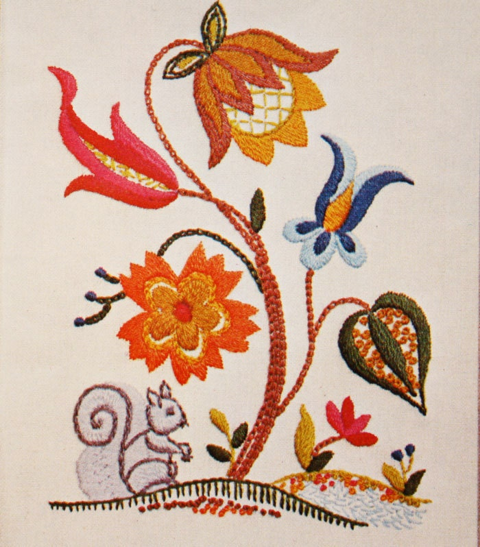 Jacobean Embroidery Kit Crewel Pattern Squirrel & Flowers