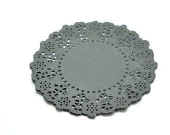 """4.5"""" Dark Gray Round Paper Doilies x 20"""