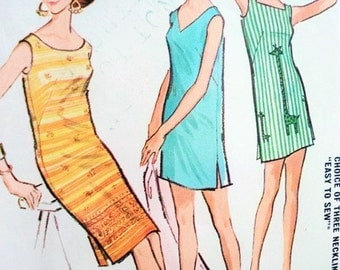 60s McCALLS 6740 Vintage Sewing Pattern Mini or Regular Shift Dress,Tunic, Beach Cover Up, Shaheen Sheath 3 Necklines Size Small Easy To Sew
