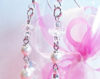 Wedding Quartz Crystal White Swarovski Pearls Gift