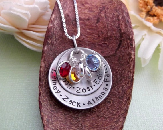 Grandma Necklace- Handstamped Grandma Jewelry- Grandchildren Necklace- Mommy Jewelry- Engraved Grandma Necklace- Gift For Grandma