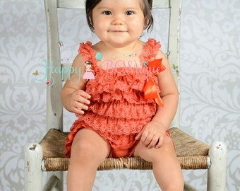 Fall Orange Lace romper, ruffle romper, baby romper, Birthday outfit, baby girls, orange romper,newborn romper,Thanksgiving outfit,halloween