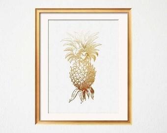 Gold Pineapple Print, Golden Pineapple, Gold White Art, Hospitality, Guest Room Art, Golden Pineapple, Guest Room Decor, Tropical Wall Art