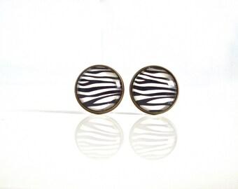 18mm Zebra Earrings, Zebra Post Earrings, Zebra Stud Earrings Zebra Print Earrings Zebra Jewelry, Animal Jewelry Animal Earrings Zebra Studs