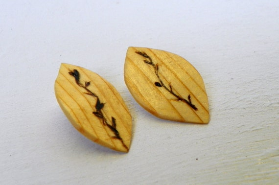 Reclaimed Wood Leaf Earrings from Feath and Kee