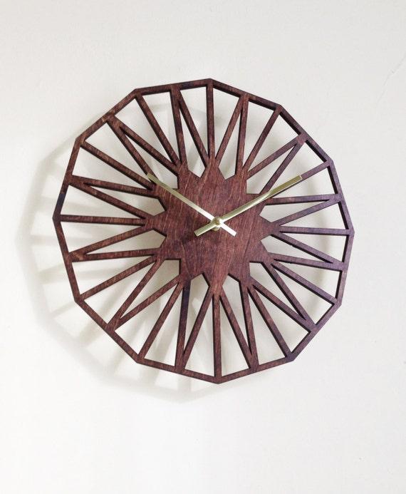 """12"""" Star Wall Clock. Laser cut, Modern, Geometric, Mid Century, Minimal, Wood, Wall Art, Decor."""