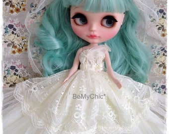 Blythe Doll Pullip Dal Dress Cloth Pullip Dal -Vintage Sweet Cream Bride Princess Lace Evening Dress