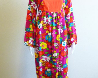Pink Peasant Dress Floral Daisy Long Hippie