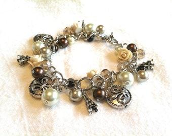 Paris Charm Bracelet, Paris Bracelet, Paris Jewelry, Eiffel Tower, French Jewelry, Parisian Jewelry
