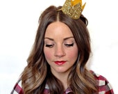 Glitter Crown-  Bride Medium Crown Bachelorette Party Headband Gold Glitter Photo Prop