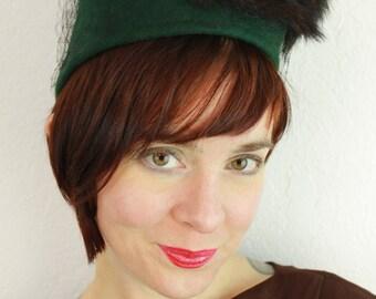 Custom Order: Vintage 1930s 1940s-Style Felt Turban with Vintage Veiling & 3 Mink Tails