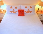 Halloween Pumpkin pillowcase, vintage, chenille, custom orders, hand made, bedding, pillows, Fall, holiday